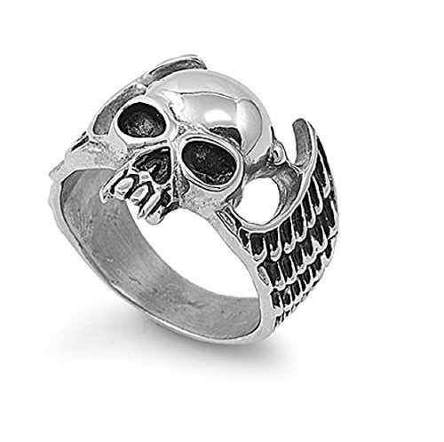 Mens Skull Wings - Stainless Steel Wings and Skull Biker Ring Size 9