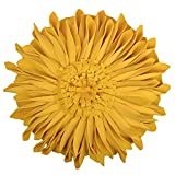JWH Handmade Flowers Accent Pillows Round Sunflower Cushion Decorative Pillowcases with Insert Home Sofa Bed Living Room Decor Gifts 12 Inch / 30 cm Velvet Yellow