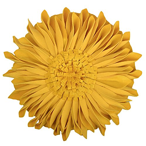 JW 3D Sunflower Accent Pillow Covers Handmade Floral Decorative Round Canvas Cushion Cases Home Sofa Car Bed Room Office Chair Decor Pillowcases with Filler Velvet Flowers 12 Inch Yellow