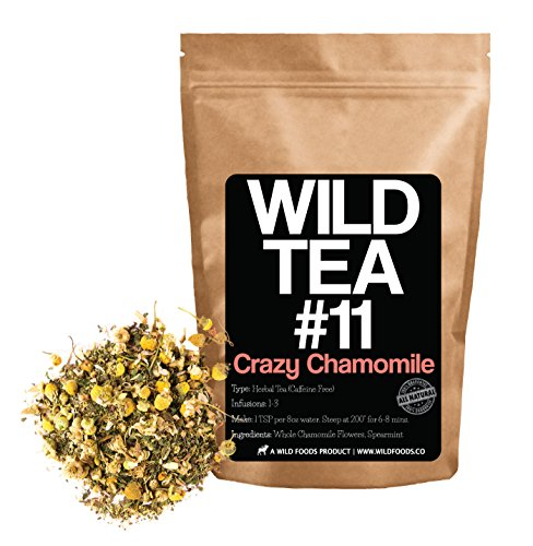 Chamomile Mint Tea, Wild Tea #11 Premium Whole Chamomile Flowers with Spearmint by Wild Foods - Organically Grown Ingredients (8 ounce) Wild Mint Tea