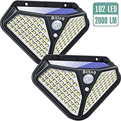 Biling Solar Lights Outdoor, Diamond 102 LED Solar Motion Sensor Security Lights 270° Wide Angle, Solar Garden Wall Lights Wireless Waterproof for Porch Deck Pathway Driveway Garage - White(2 Packs)