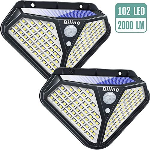 Biling Solar Lights Outdoor, Diamond 102 LED Solar Motion Sensor Security Lights 270 Wide Angle, Solar Garden Wall Lights Wireless Waterproof for Porch Deck Pathway Driveway Garage – White 2 Packs