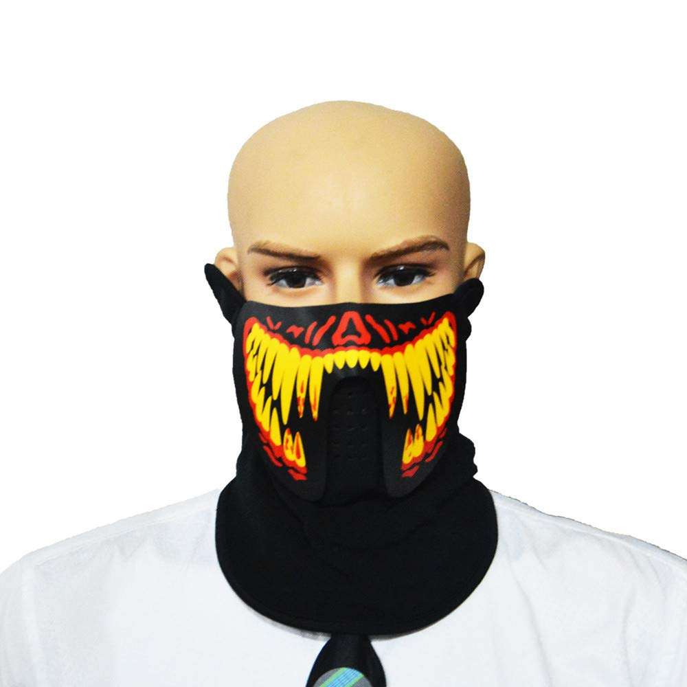 LED Light Up Mask - Halloween Party Cosplay Face Mask - Sound Reactive Face Mask -Iuhan Halloween Sound Reactive Half Face LED Light Up Mask Dance Rave EDM Plur Party (E)
