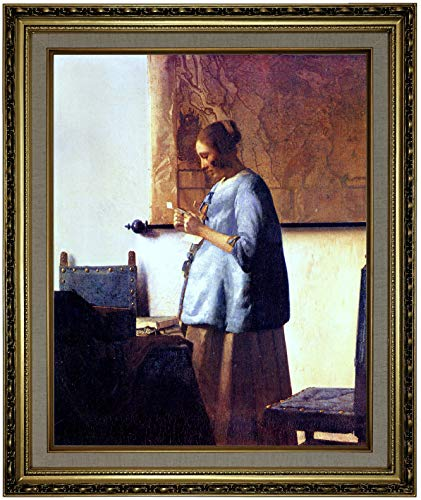 Historic Art Gallery Women in Blue Reading a Letter by Johannes Vermeer Framed Canvas Print, Size 16x20, Gold (Woman In Blue Reading A Letter Vermeer)