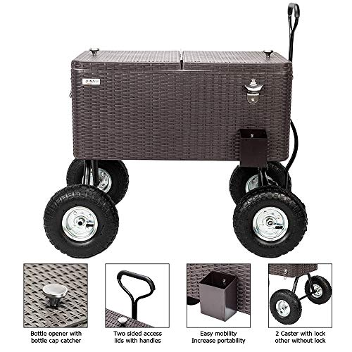 VINGLI 80 Quart Wagon Rolling Cooler Ice Chest, w/Long Handle and 10