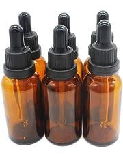One Trillion,1oz (30ml) ámbar Boston de botellas de cristal con cristal ojo Frascos cuentagotas para aceites esenciales, productos químicos liquid- 6 unidades