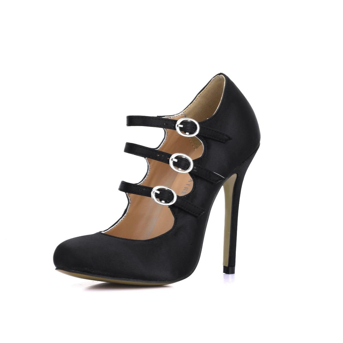 KUKIE Best 4U® Damenschuhe Faux Silk Metall Schnalle Stiletto 12CM High Heels Spitzschuh Frühling Sommer Schuhe schwarz