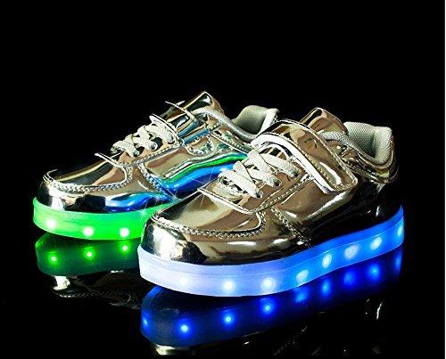 Zapatos de deportivas LED, KIPTOP zapatillas para niños con siete colores, externo usb Luz de carga plateado