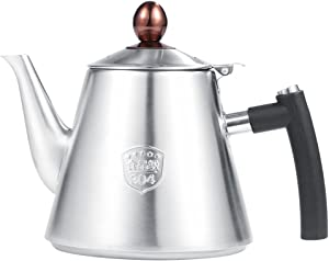 Jeffergarden 1.2L Stainless Steel Stove-top Teapot Tea Coffee Pot Kettle Heat Resistant Silicone Handle for Home Office(sanding)