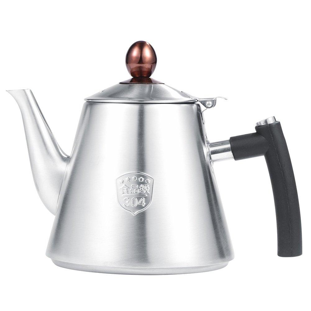 1.2L Edelstahl Herd-Teekanne Tee-Kaffeekanne Wasserkocher hitzebestä ndigem Silikon Griff fü r Haus, Kü che usw.(Matt) Eboxer