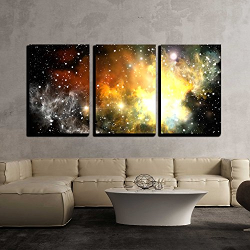 Colorful Space Nebula ( Abstract Universe Background ) x3 Panels