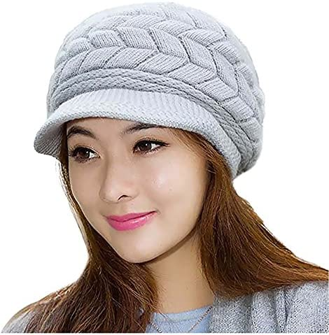 Loritta Womens Winter Warm Knitted Hats Slouchy Wool Beanie Hat Cap With  Visor e12fa43c18d3