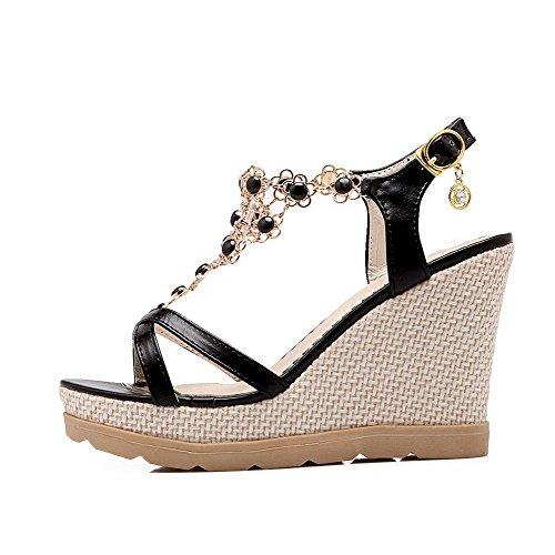 VogueZone009 Women's Open Toe Solid High Heels Buckle Sandals Black Hglq0