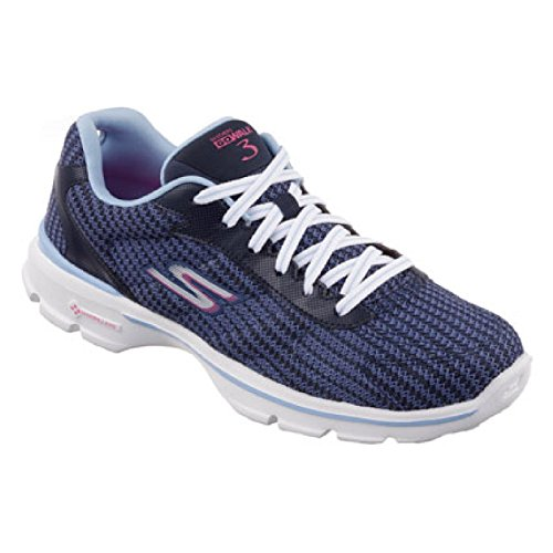 Skechers - Zapatillas deportivas modelo Go Walk 3 de punto para mujer Azul marino/Azul