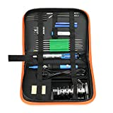 Electric Soldering Iron Tool Kit with PU Carry Case, 110V 60W Adjustable Temperature Welding Iron, 5pcs Tip, Desoldering Pump, Tin Wire Tube, Soldering Iron Stand,2pcs Tweezers,6pcs Aid Tools