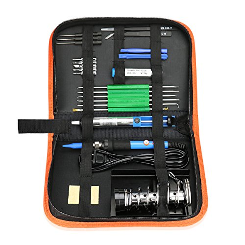 Electric Soldering Iron Tool Kit with PU Carry Case, 110V 60W Adjustable Temperature Welding Iron, 5pcs Tip, Desoldering Pump, Tin Wire Tube, Soldering Iron Stand,2pcs Tweezers,6pcs Aid Tools Image