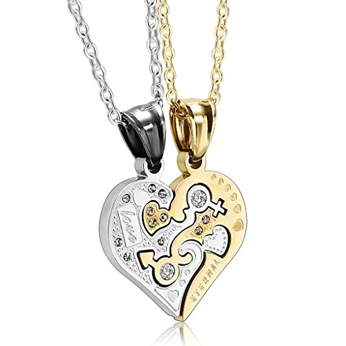 Starbucks Diy Costume (Epinki Stainless Steel Couple Necklace Cubic Zirconia Heart His And Hers Gold Silver)