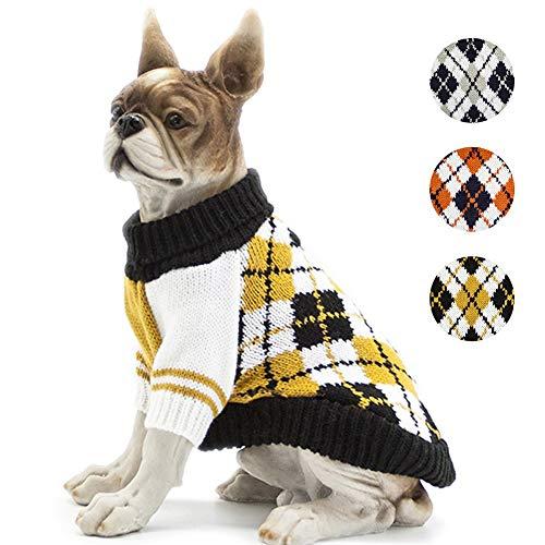 BOBIBI Dog Sweater of The Diamond Plaid Pet Cat Winter Knitwear Warm Clothes,Yellow,XL ()