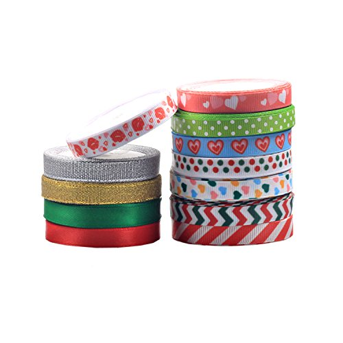 Bailarina 3/8 inch Grosgrain Satin Color Ribbon - 60 Yard Fabric with spool for Valentine's Day, Christmas Winter Holiday Gift Wrapping, Hair Bow Clips & Accessories Making (5 Yardx12 colors)