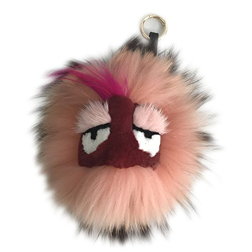 "Fluffy Large Pretty Pink 8"" Real Fox Fur Monster Bag Bugs Charm Fur Ball Pompom"