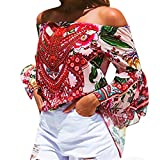 Pervobs T-Shirt Clearance! Women Sexy Off Shoulder Flare Sleeve Print Blouse Tops Colorful Clothes T Shirt (S, Red)