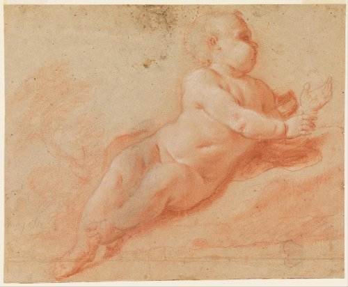 Classic Art Poster - Study of a Nude Child by Francesco Saverio Mergolo 24 X 20