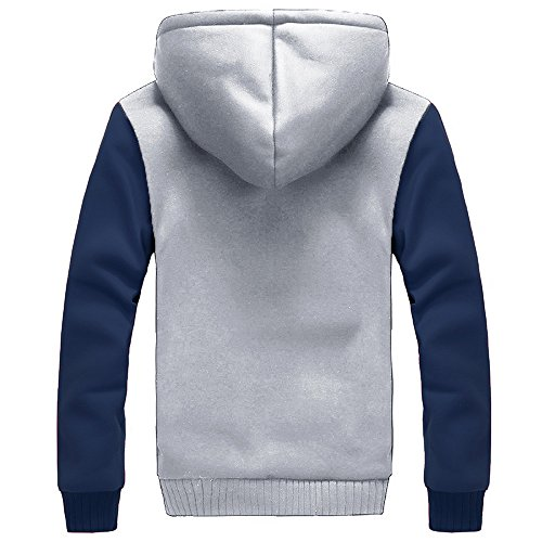 Outwear Hooded Sweater Coat Sweatshirt Zip Parka Outdoor Zipper Fleece Gray Hoody Hoodie Lined HARRYSTORE Jacket Top Jacket Jumper Fur Coat Men's wqWHU5EC5g