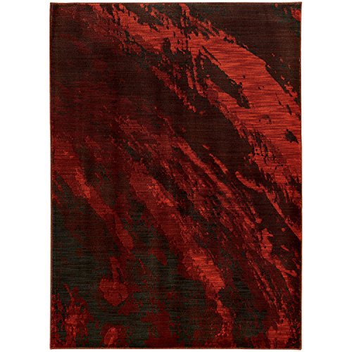Waves Area Rug, Red Abstract Stain-Resistant Premium Non-Shed Carpet Mat For Living Room, 9' 10