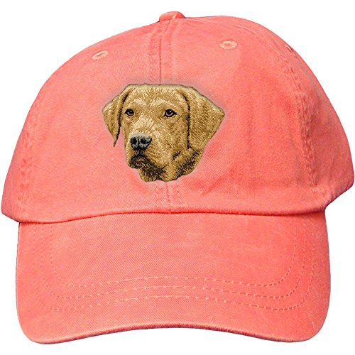 Cherrybrook Dog Breed Embroidered Adams Cotton Twill Caps - Coral - Chesapeake Bay Retriever - Embroidered Chesapeake Bay Retriever