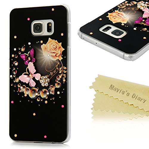 [Galaxy S6 Edge Plus Case (Not for S6 Edge),Mavis's Diary 3D Handmade Bling Crystal Lovely Butterfly Fashion Champagne Rose with Shiny Sparkle Diamond Hard PC Cover for Samsung Galaxy S6 Edge Plus] (Dark Crystal Beetle Costumes)