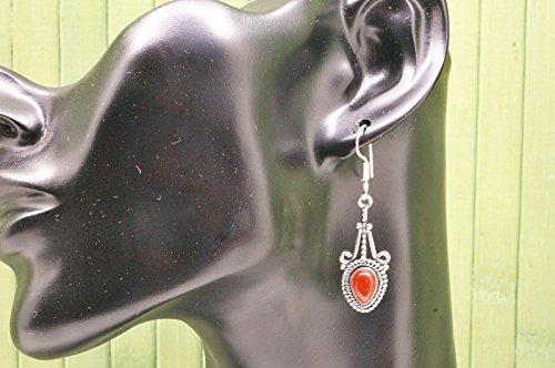 Boucles d'oreilles plaqué argent avec cornaline 14 mm x 47 mm