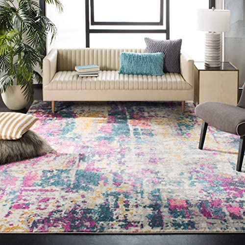 Safavieh Madison Collection MAD143B Ivory and Blue Modern Bohemian Chic Abstract Area Rug 5'1″ x 7'6″