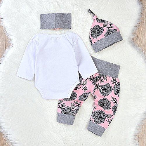 ❤ Conjunto para bebé, Manga Larga otoño Invierno Toddler Newborn Baby Girls Letter Rompers Jumpsuit Flores Pantalones 4PCS Outfit Set Absolute: ...