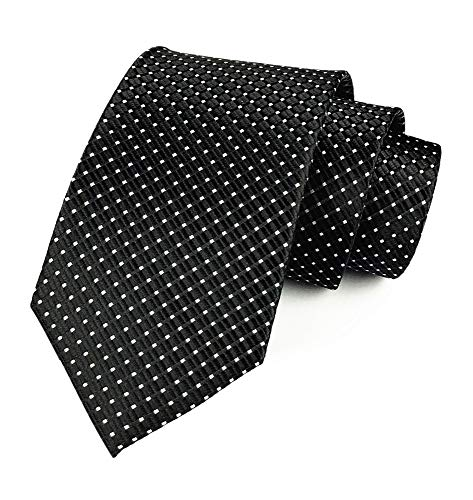 Mens Black Silk Ties Micro Checkered Wedding Party Suit Microfiber Handmade Neckties Checkered Silk Necktie Tie