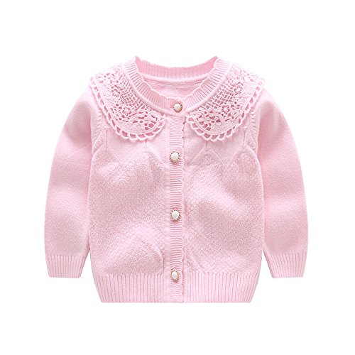 ed Baby Girls Cardigan Toddler Button Sweaters (12 Monthes, Pink) (Baby Girl Pink Knit Sweater)