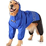 Leowow Large Dog Raincoat (Large, Blue)