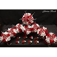 Red and White BEADED Flower Lily Wedding / Quincenarea Bouquet 16 PC Set with FREE Boutonnieres