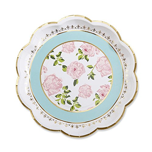 Kate Aspen 28310NA Tea Time Whimsy Paper Plates (Set of 8) - Edge Scalloped Cardstock