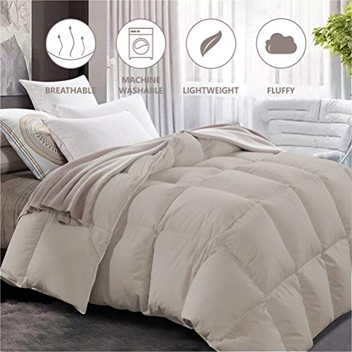 "Maple Down Comforter Twin Size Duvet Insert, Down Alternative Comforter Quilted with Corner Tabs for All Season, Soft & Breathable Brushed Microfiber Machine Washable (Light Brown, 68"" 90"")"