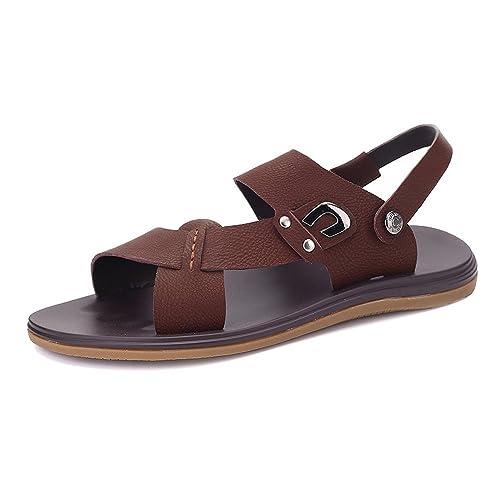 Sunny&Baby Sandalias de Playa de Cuero de Imitación para Hombre Zapatillas de Suela Antideslizante con Punta