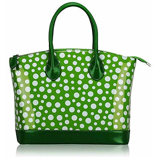 Trend Star Mujer grandes bolsillos Bolsos Mujer Hombro konstrukteur piel sintética J - Green