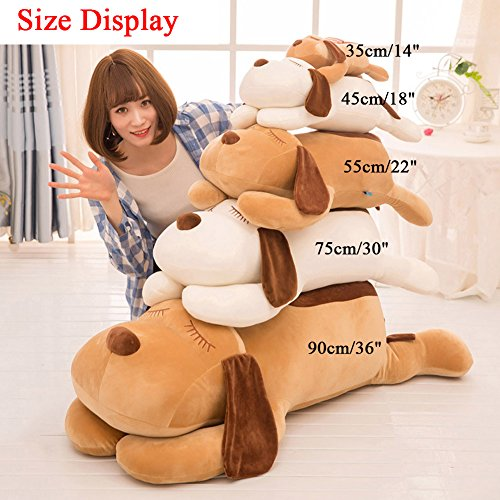 """TTVOVO Dog Stuffed Animals 18 Inch Plush Toys Dolls Large Brown Sleeping Puppy Collection Huggable Super Soft Pillow Cushion for Kids Child Christmas Gifts - 18""""/45cm"""