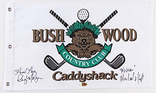 - Cindy Morgan & Michael O'Keefe Signed 12x21 Caddyshack Gopher Logo Bushwood Golf Pin Flag Inscribed