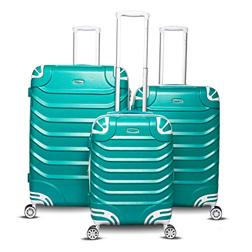 Luggage Collection Hardside - Gabbiano Aspire Collection 3-Piece Hardside Spinner Luggage Set (Teal)
