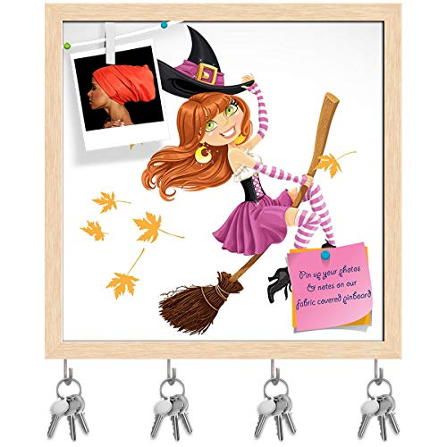 (Artzfolio Witch Flying On A Broomstick Key Holder Hooks | Notice Pin Board | Natural Brown Frame 16.1 X 16Inch)