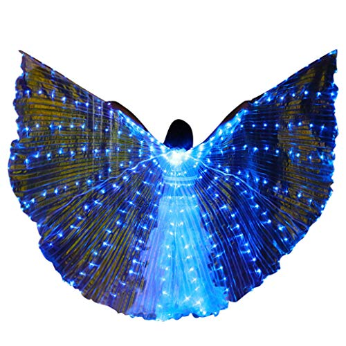 FEDULK Girls Belly Dance LED Wings Performance Costumes Colorful Butterflies Wings with Telescopic Stick(Blue)]()