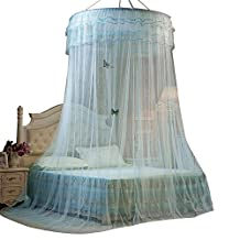 Mosquito Net Cover, Princess Round Lace Mosquito Nets,Conical Curtains Fly Screen Netting Bug Screen Repellant-Carrying Malaria & Diseases for Home or Travel Use (Blue)