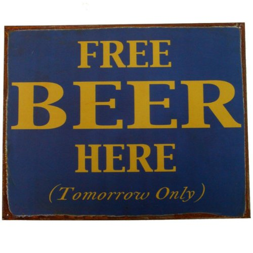 Free Beer Here Tin Sign 15 x ()