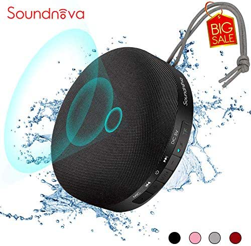 【Travel Case Included】 6W Soundnova 3D Bass Shower Bluetooth Speaker, IPX4 Waterproof, 15H Music, Premium Small Portable Wireless Speaker for Outdoor Sports Pool Beach Hiking Camping Party, Black