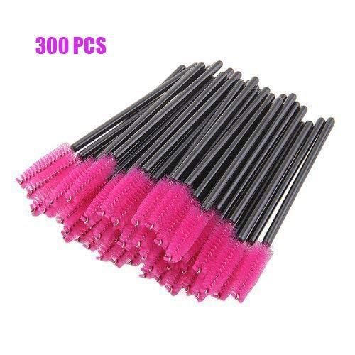 300PCS Pink Disposable Eyelash Mascara Brushes Wands Applicator Makeup Brush Kits
